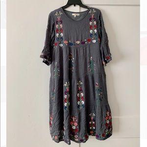 Grey Linen Midi Dress